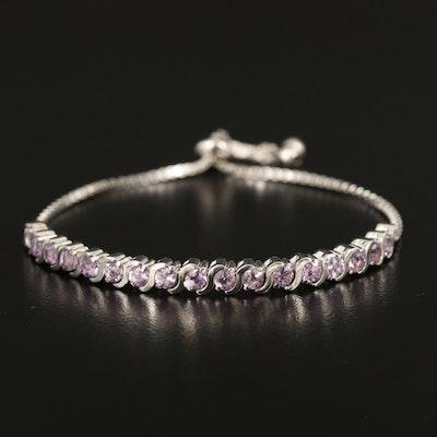 Sterling Silver Amethyst S-Link Bolo Bracelet