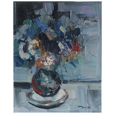 "Jose Trujillo Oil Painting ""Blue Bouquet,"" 2021"