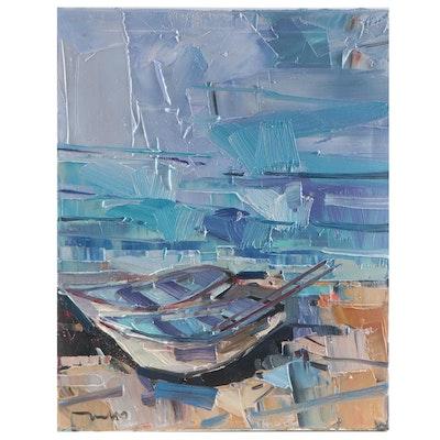 "Jose Trujillo Oil Painting ""Two Rowboats,"" 2021"