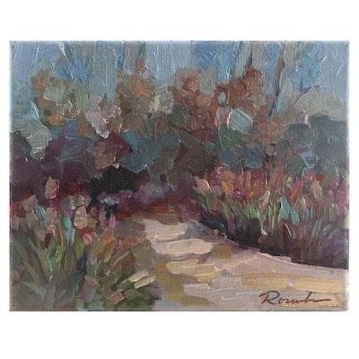 """Sally Rosenbaum Landscape Oil Painting """"Christine's Garden"""""""