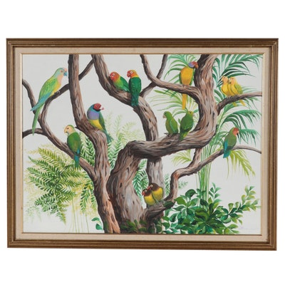 "Dorothea S. Wendlandt Acrylic Painting ""The Parrot Tree,"" Circa 2000"