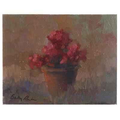 "Sally Rosenbaum Floral Oil Painting ""Soft Geranium"""