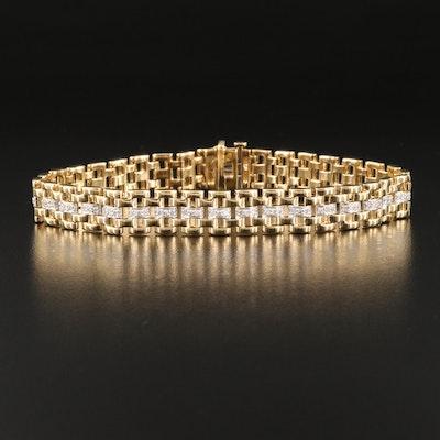 Sterling 1.02 CTW Diamond Panther Bracelet