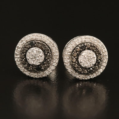 Sterling Diamond Concentric Earrings