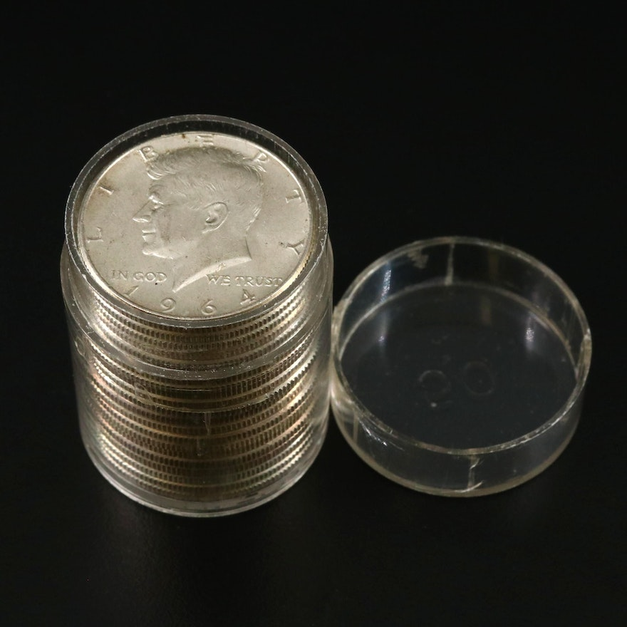 Coin Tube of 1964 Kennedy Silver Half Dollars