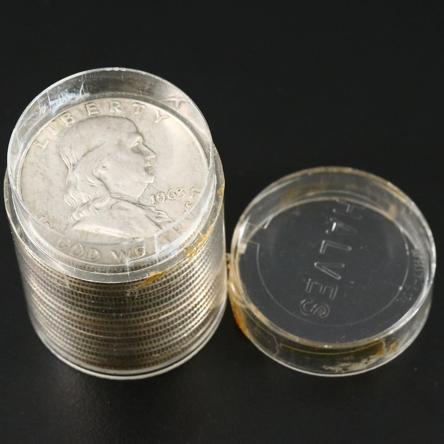 17 Franklin Silver Half Dollars, 1950s and 1960s