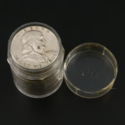 Coin Tube of Franklin Silver Half Dollars, 1950s and 1960s