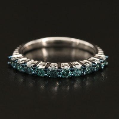 Sterling Fancy Blue Diamond Ring