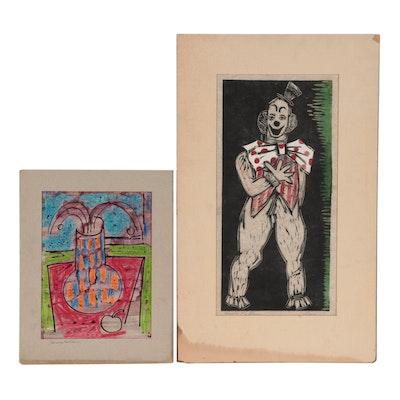 "Henry Kallem Mixed Media Still Life Drawing and Woodcut ""Clown,"" 1951"