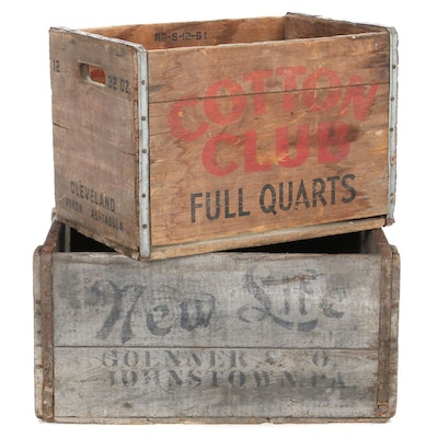 Cotton Club and Goenner & Co. New Life Beer Wood Crates, Early 20th Century