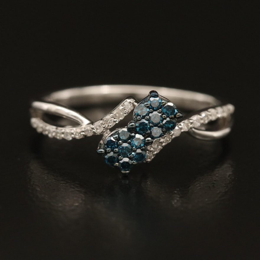 Sterling Diamond Cluster Bypass Ring