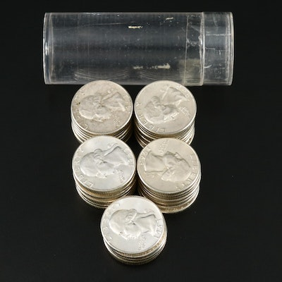 Roll of Washington Silver Quarters Including Proof Coins, 1950s and 1960s