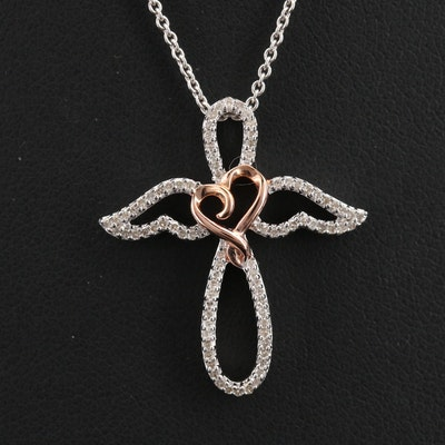 Hallmark Sterling Angel with Heart Pendant Necklace