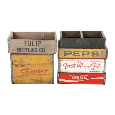 Coke, Pepsi, and Other Wooden Soda Crates, Mid-20th Century