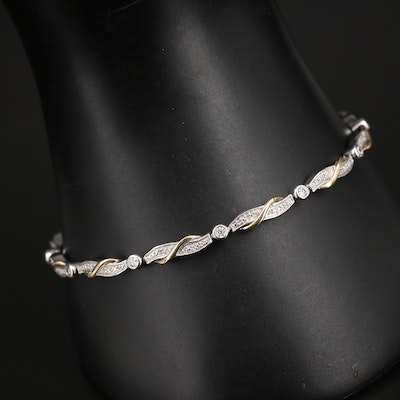 Sterling Diamond Crossover Bracelet with 10K Accents