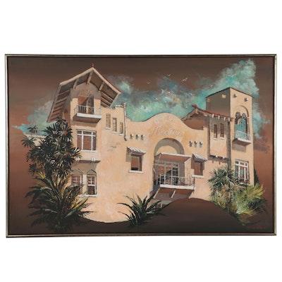Dorothea S. Wendlandt Oil Painting of Hotel, Circa 2000