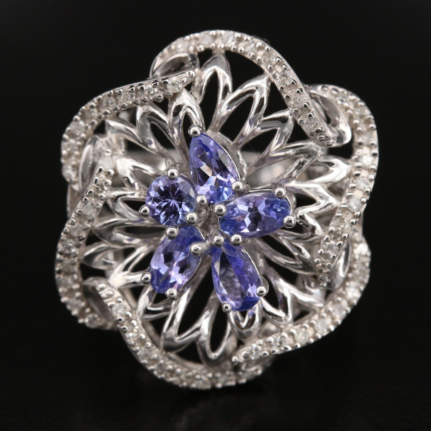 Sterling Diamond and Tanzanite Openwork Ring
