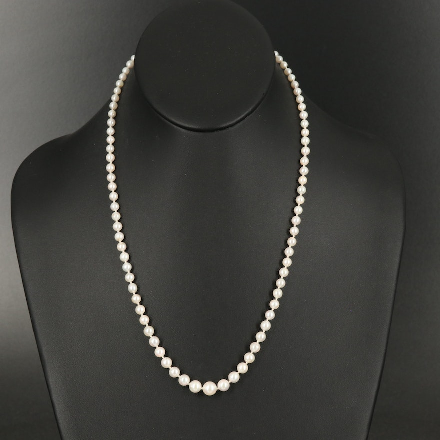 Graduated Pearl Necklace with 10K Clasp