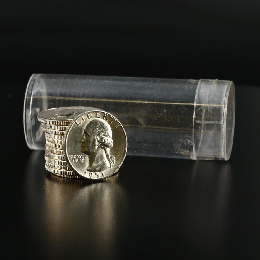 13 Silver Washington Silver Quarters, 1950s