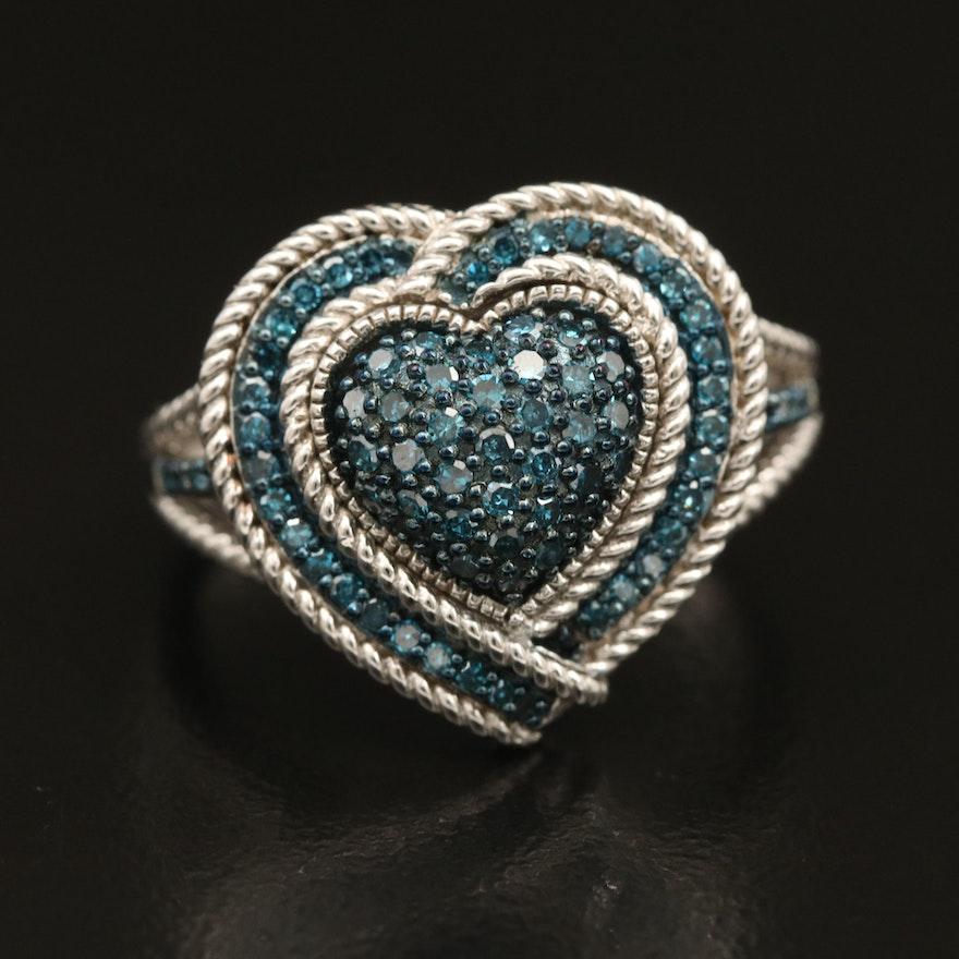 Sterling Pavé Fancy Blue Heart Diamond Ring