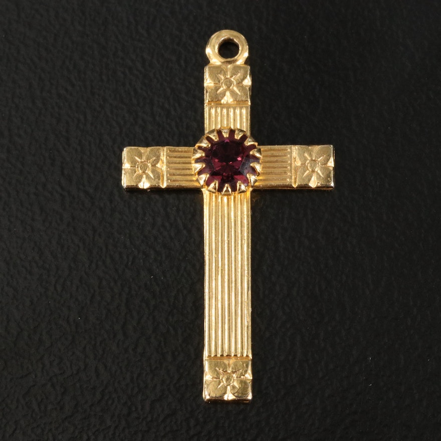 Cross Pendant with Faceted Red Glass Stone