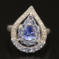 Sterling Tanzanite and Diamond Drop Ring
