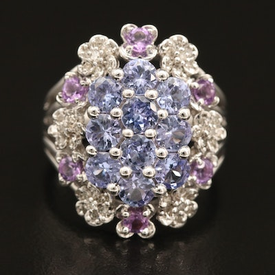 Sterling Cluster Ring with Tanzanite, Amethyst and Diamond