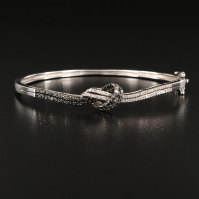 Sterling Diamond Love Knot Hinged Bangle