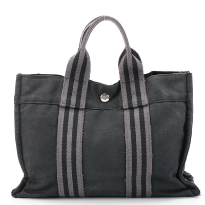 Hermès Fourre Tout PM in Grey and Black Cotton Canvas