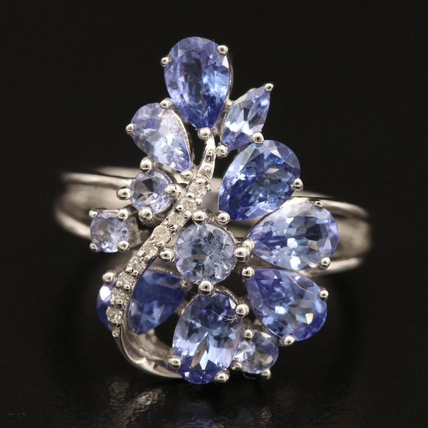 Sterling Tanzanite and Diamond Ring with Openwork Shoulders