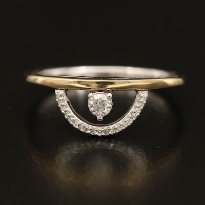 Sterling Diamond Half Circle Ring with 10K Accent