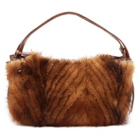 Paolo Masi Genuine Leather and Mink Fur Handbag