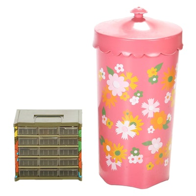 Wolff Products Co. Floral Motif Wastebasket with Metal Organizer Drawer
