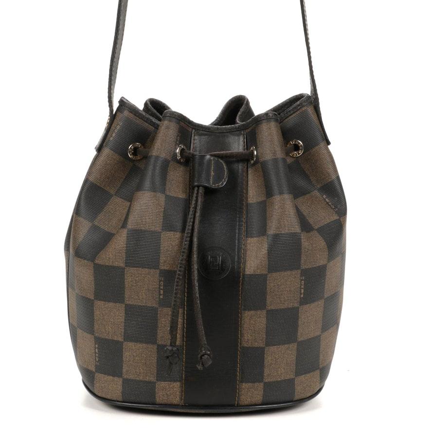 Fendi Pequin Checkered Crossbody Bucket Bag