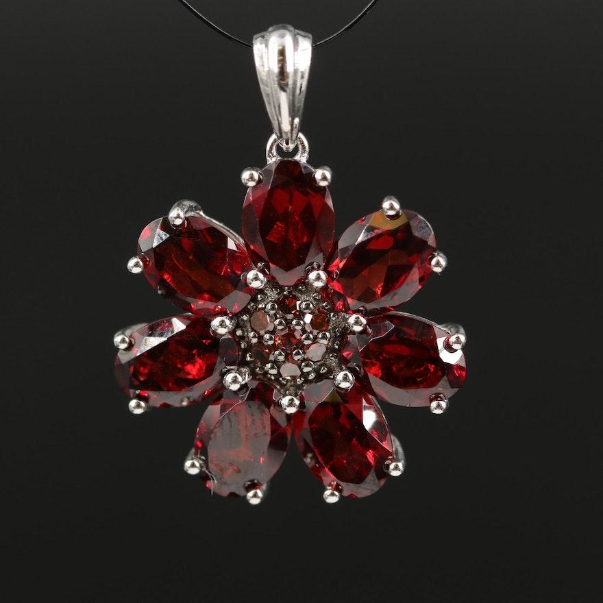 Sterling Garnet and Diamond Flower Pendant