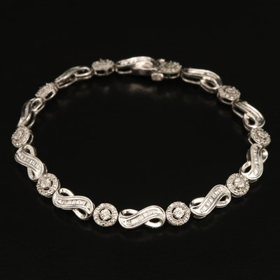 Sterling Diamond Infinity Link and Illusion Set Bracelet