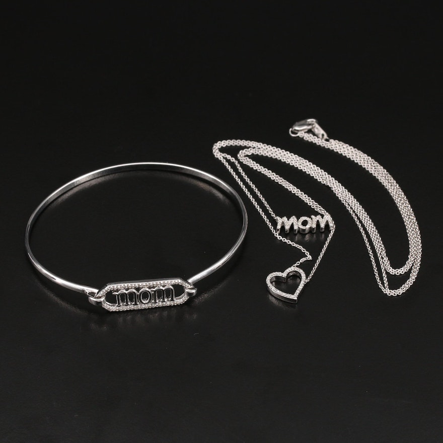 """Sterling Diamond """"Mom"""" Bangle with """"Mom"""" and Heart Necklace"""