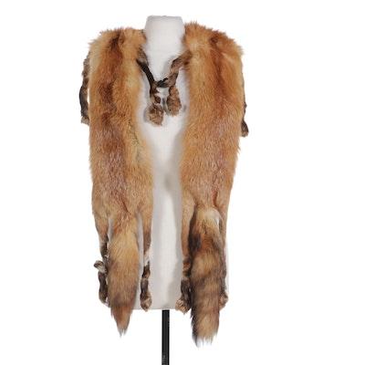 Double Full-Pelt Red Fox Fur Stole