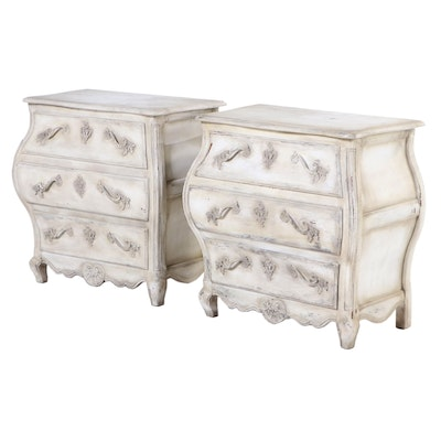 Baker Louis XV Style Pair of Painted Bombé Commode Chests