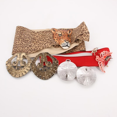 Carol Halmy Porcelain Leopard Buckle on Printed Leather Belt, Mimi Di N and More