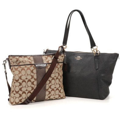 """Coach """"Ava"""" Black Leather Tote and Monogram Canvas Crossbody Bag"""