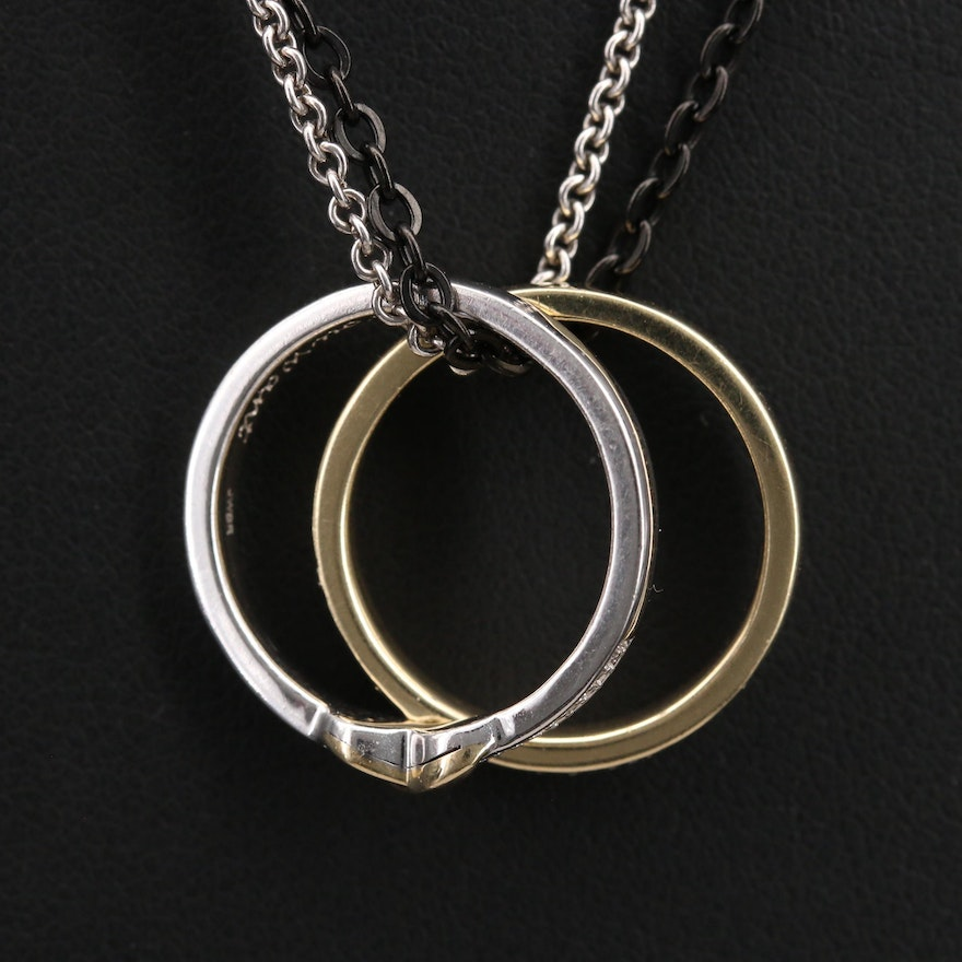 Sterling, Stainless Steel and 10K Diamond Ring Pendant Necklaces