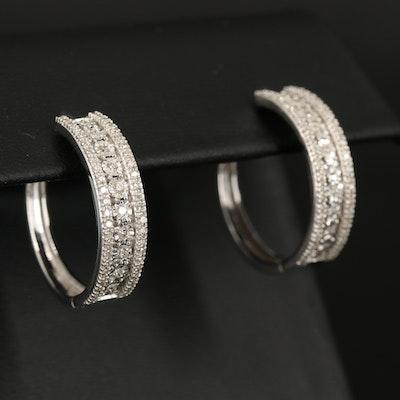 Sterling Diamond Hoop Triple Row Earrings