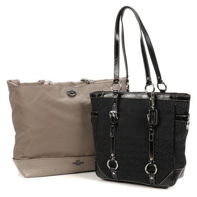 Coach Black Monogram Canvas Bag With Contrast Stitching and Gray Tote Bag