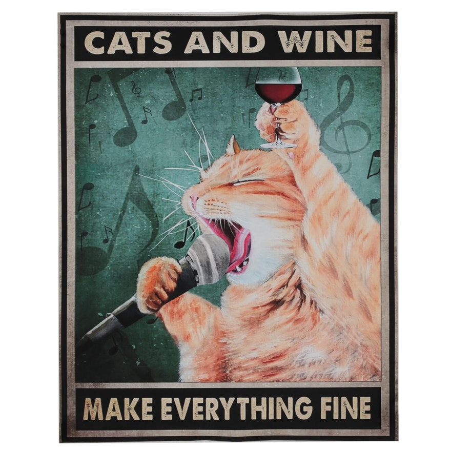 Giclée of Cat Singing and Drinking Wine, 21st Century