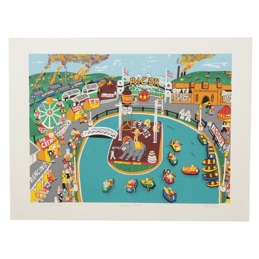 "Kathleen Ferri Folk Art Serigraph ""Lagoon Stage"""