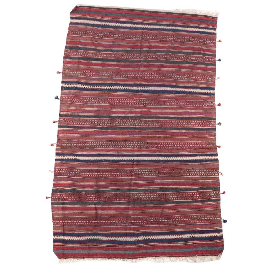 5'5 x 7'4 Handwoven Persian Kurdish Kilim Area Rug