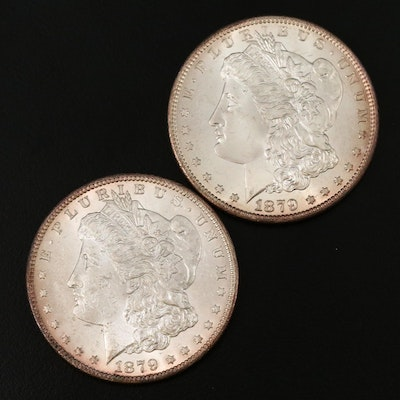 1879-S Type I and Key Date 1879-S Type II Morgan Silver Dollars