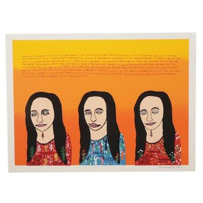 "Howard Finster Folk Art Serigraph ""Mona Lisa,"" Circa 1989"
