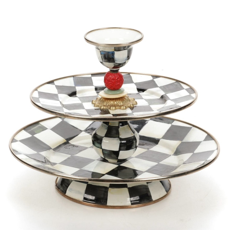 """MacKenzie-Childs """"Courtly Check"""" Two-Tier Tray"""